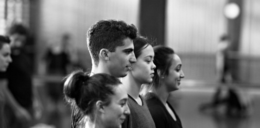 Working hard - students Olympia Kotopoulos, Isaac Di Natale, Angela Walker and Stephanie Fernandez. Photo by Richard Freeman
