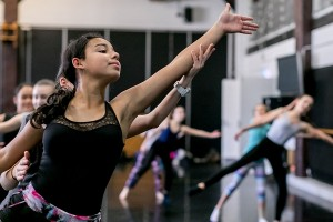Students in contemporary dance class