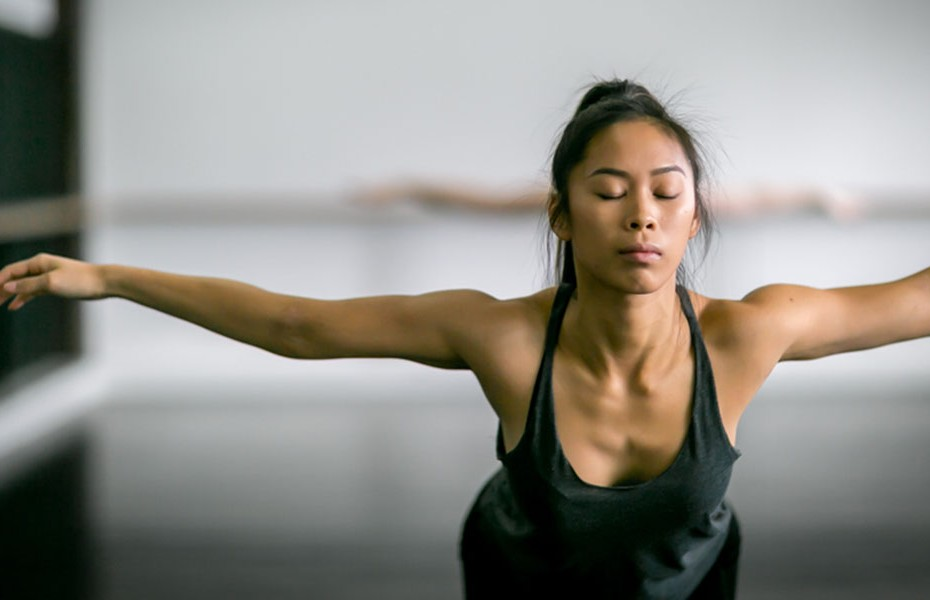Woman in contemporary dance class